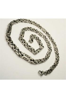 Osmanlı Gümüş Erkek Çelik Kral Zincir Kolye Orta Kalilikta 5Mm Grek Motifli