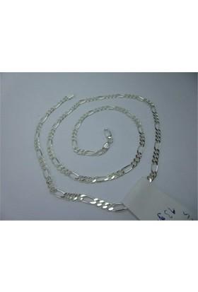 Osmanlı Gümüş Figaro Gümüş Erkek Zincir Kolye İnce Model