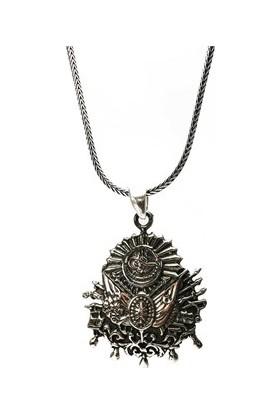 Osmanlı Gümüş Osmanlı Armasi Sancaği Erkek Gümüş Kolye Zincir