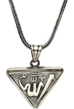 Osmanlı Gümüş Allah Yazılı İçerisinde Cevşen Bulunan Gümüş Muska Erkek Kolye Zincir