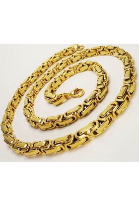 Osmanlı Gümüş Altın Kaplama Sarı Kral Erkek Çelik Kolye Ve Bileklik Set Orta Kalınlıkta