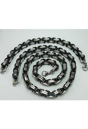 Osmanlı Gümüş Çelik Kral Erkek Zincir Kolye + Bileklik Set