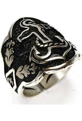 Osmanlı Gümüş Gemi Çapalı Başparmak Zihgir Okçu Gümüş Erkek Yüzüğü