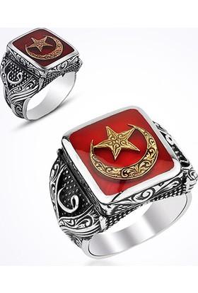 Mina Silver Ayyıldız Yan Vav Modeli Kırmızı Mineli Taşsız Gümüş Erkek Yüzük Ms11037 32