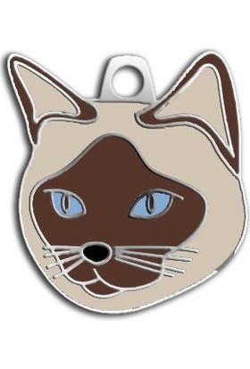 Dalis Pet Tag - Kahverengi Krem Siyam Kedisi Kedi Künyesi
