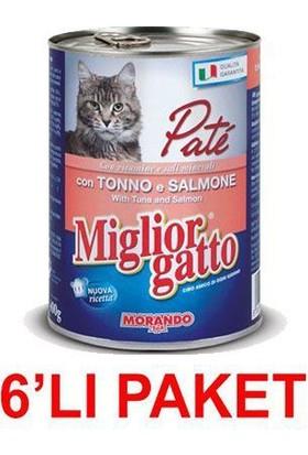 Miglior Gatto Somonlu Ton Balikli Pate Kedi Konservesi 400 Gr (6'Li Paket)