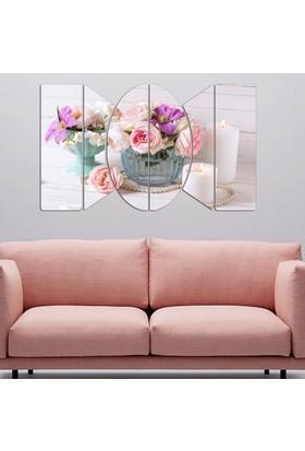 6 Parça Mdf Tablolar - Pembe/Beyaz Çiçekler