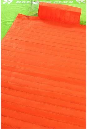 Seryat Turuncu Plaj Hasırı Şişme Yastıklı (Taşıma Çantalı)