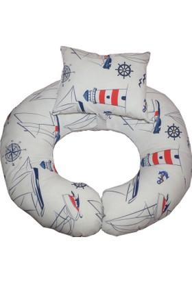 Baskaya Denizci Desen Bebek Emzirme Destek Ve Oturma Minderi + Yastığı