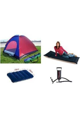 Frk Store Kamp Seti 3 Kişilik Çadır + Yatak + Yastık Ve Pompa