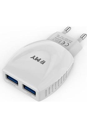 Emy Micro Usb Cep Telefonu Hızlı Şarj Cihazı 2.4 A + İos Kablo