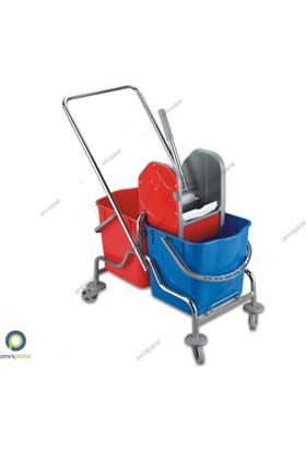Ceymop Temizlik Arabası Krom Taşıyıcı Plastik Pres Çift Kovalı