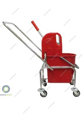 Ceymop Temizlik Arabası Tek Kovalı Krom Taşıyıcı Plastik Lüks Pres