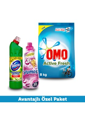 Omo Active Fresh 8 kg + Yumoş Extra 720 ml + Domestos 810 gr