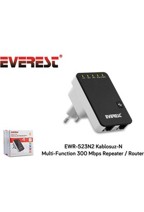 Everest Ewr-523N2 Kablosuz-N Multi-Function 300 Mbps Repeater+Access Point+Bridge Client Router