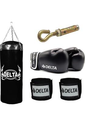 Delta Boks Torbası Seti -Siyah (1 Çift Boks Eldiveni - 1 Çift Kol Bandajı - Tavan Askı Aparatı) 65 x 25 cm