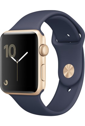 Apple Watch Seri 2 42mm Altın Rengi Alüminyum Kasa ve Gece Mavisi Spor Kordon - MQ152TU/A
