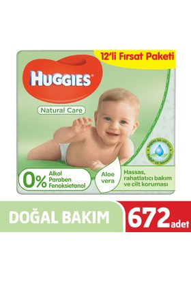 Huggies Islak Havlu (Doğal Bakım) 672 Yaprak 12'li Paket