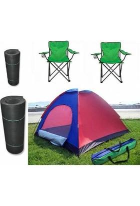 Frk Store Kamp Seti - Çadır ( 3 Kişilik ) Kamp Sandalyesi ve Mat