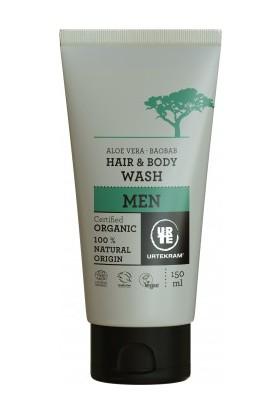 Urtekram Erkek - Organik Saç Ve Vücut Duş Jeli - Aloe Vera ve Baobab Ağacı -150 Ml.