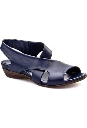 Cabani Çapraz Bağ Günlük Kadın Sandalet Lacivert Deri