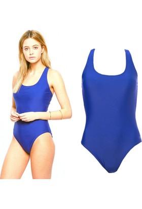 Nbj Kadın Mavi Tek Parça Deniz Havuz Yüzücü Mayosu