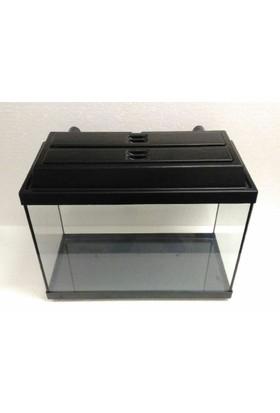 Kanki Pet Akvaryum 50X23X34 Cm Tam Kapaklı Düz Siyah 39 Litre
