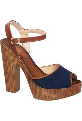 Graceland Kadın Lacivert Taba Kalın Topuklu Sandalet Kahverengi