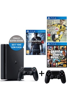 Sony Ps4 Slim 500GB + 2. Kol + Fifa 17 + Gta 5 + Uncharted 4