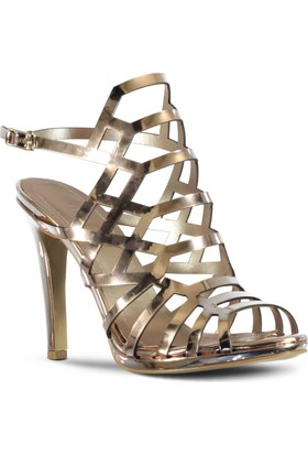 Marjin Nova Topuklu Ayakkabı Pudra Altın