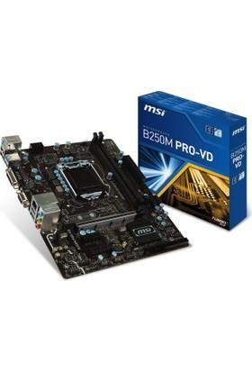 MSI B250M PRO-VD Intel B250 Chipset 2400MHz DDR4 Soket 1151 mATX Anakart