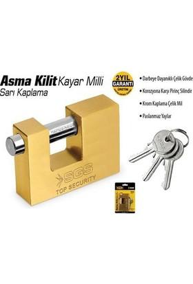 Sgs Sarı Kaplama Kayar Milli Asma Kilit 90Mm Sgs1362 (1 Adet)