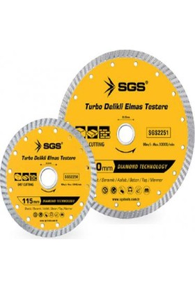 Sgs 230Mm Turbo Delikli Elmas Testere Sgs2252 (1 Adet)