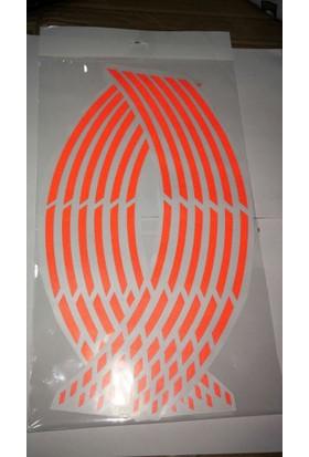 Jant Şeridi Fosforlu 8 Parçalı Kırmızı