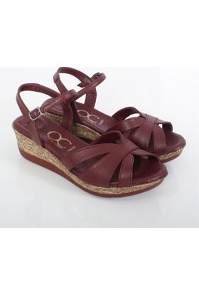 Kayra Bordo Dolgu Topuk Kadın Sandalet 02