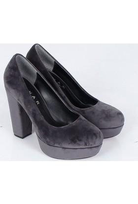Lonar Gri Süet Platform Kalın Topuk Kadın Ayakkabı 479
