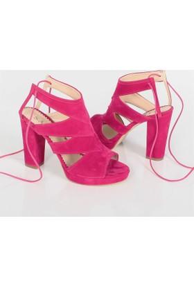 Sar Fuşya Süet Kalıntopuklu Kadın Sandalet Ayakkabı 1008