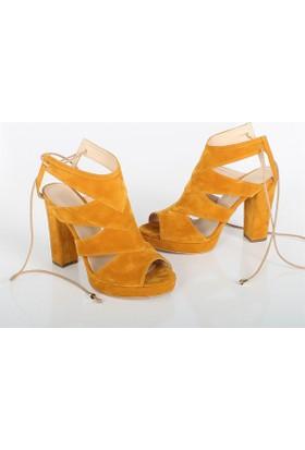 Sar Hardal Süet Kalıntopuklu Kadın Sandalet Ayakkabı 1008