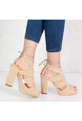 Sar Ten Süet Kalıntopuklu Kadın Sandalet Ayakkabı 1008
