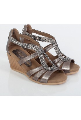 Sms Platin Bayan Dolgu Topuklu Sandalet 1035