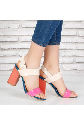 Sms Bej Pembe Kalın Topuklu Bayan Sandalet 3565