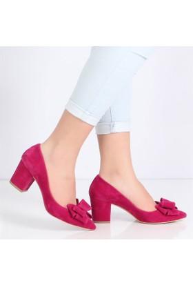 Oc Fuşya Süet Alçak Topuk Fiyonklu Kadın Ayakkabı Cv102