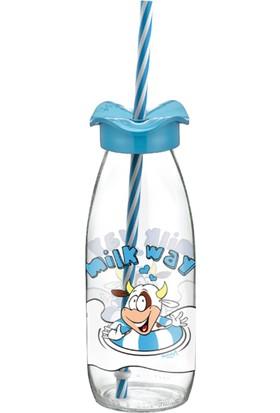 Renga Desenli Pipetli Cam Süt Şişesi Mavi 250 ml