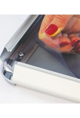 ORES 32mm. Alüminyum Afiş Çerçevesi Rondo Köşe - DIN A4 (210x297 mm.)