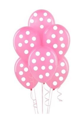 Pastisya pembe Puantiyeli Doğum Günü Balon 5 Ad.