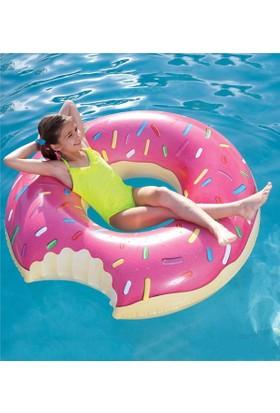 Big Mouth Büyük Boy Boy Şişme Donut Yüzdürücü Flatör Deniz Simidi Flatörü Pembe 90Cm
