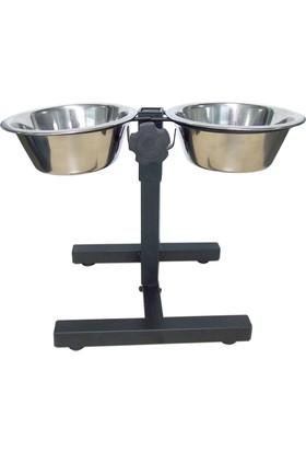 Tommy Ayarlanabilir Ayaklı Çelik Köpek Mama Su Kabı 1 Litre