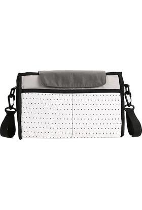Weekeight Bebek Arabası Puset Düzenleyici Çanta Anne Çantası Bez Çanta Beyaz