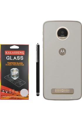 Gpack Motorola Moto Z Play Kılıf 02mm Silikon Case +Kalem +Cam