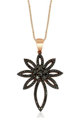 Altınsepeti Gümüş Siyah Taşlı Çiçek Kolye Astm019854